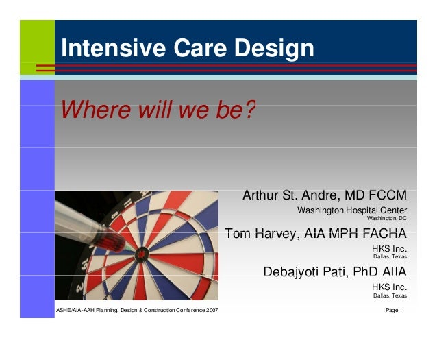 Intensive Care Design Wh ill b ?Where will we be? A th St A d MD FCCMArthur St. Andre, MD FCCM Washington Hospital Center ...