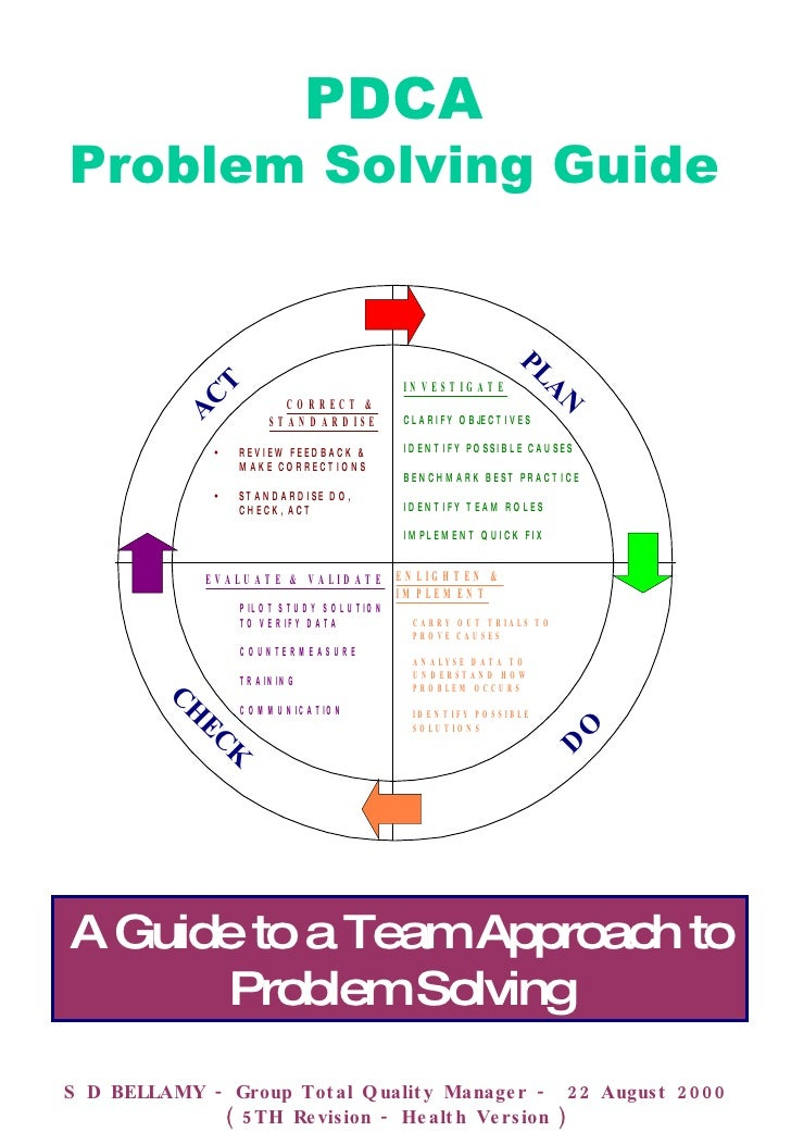 PDCA Problem Solving Guide S D BELLAMY - Group Total Quality Manager -  22 August 2000 ( 5TH Revision - Health Version ) A...