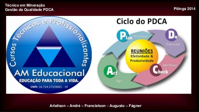Técnico em Mineração Gestão da Qualidade PDCA  Arleilson – André – Francielson – Augusto – Fágner  Pitinga 2014