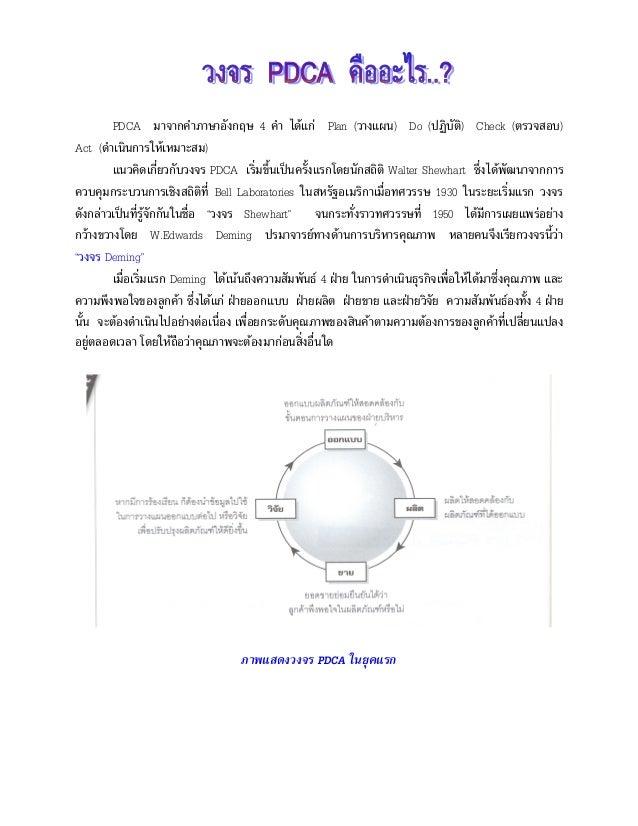 PDCA มาจากคําภาษาอังกฤษ 4 คํา ไดแก Plan (วางแผน) Do (ปฏิบัติ) Check (ตรวจสอบ) Act (ดําเนินการใหเหมาะสม) แนวคิดเกี่ยวกับ...