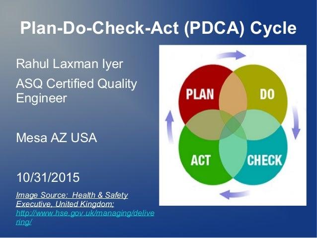 Plan-Do-Check-Act (PDCA) Cycle Rahul Laxman Iyer ASQ Certified Quality Engineer Mesa AZ USA 10/31/2015 Image Source: Healt...