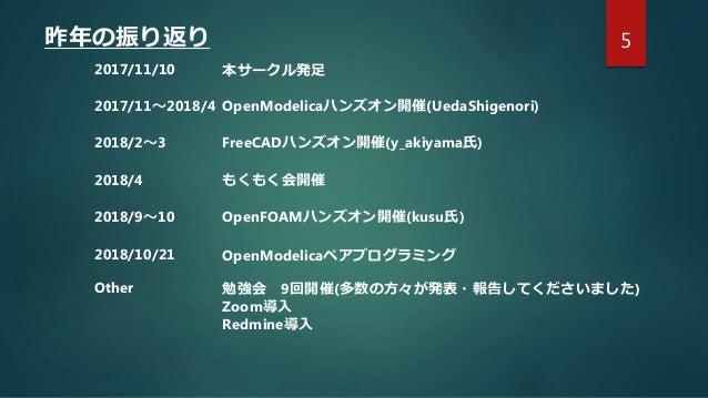 5昨年の振り返り 2017/11/10 本サークル発足 2017/11~2018/4 OpenModelicaハンズオン開催(UedaShigenori) 2018/2~3 FreeCADハンズオン開催(y_akiyama氏) 2018/4 も...