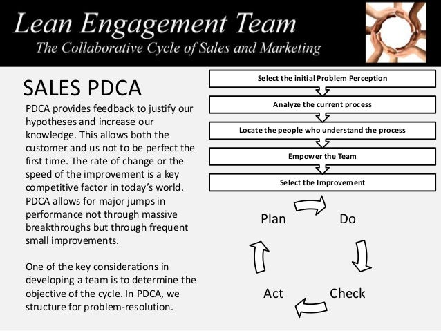SALES PDCA PDCA provides feedback to justify our hypotheses and increase our knowledge. This allows both the customer and ...