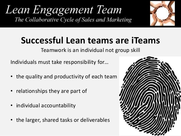Successful Lean teams are iTeams Teamwork is an individual not group skill Individuals must take responsibility for… • the...