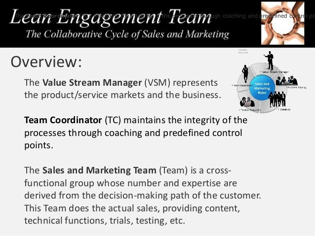 The Value Stream Manager (VSM) represents the product/service markets and the business. Team Coordinator (TC) maintains th...