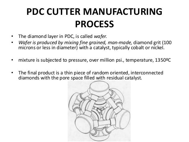 PDC CUTTER MANUFACTURING PROCESS • The diamond layer in PDC, is called wafer. • Wafer is produced by mixing fine grained, ...