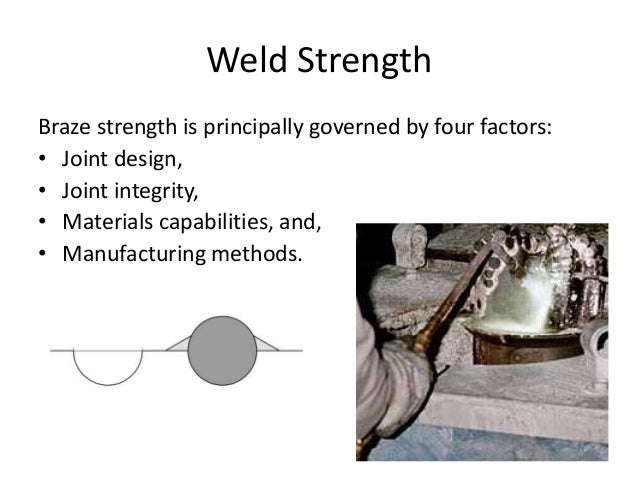 Weld Strength Braze strength is principally governed by four factors: • Joint design, • Joint integrity, • Materials capab...