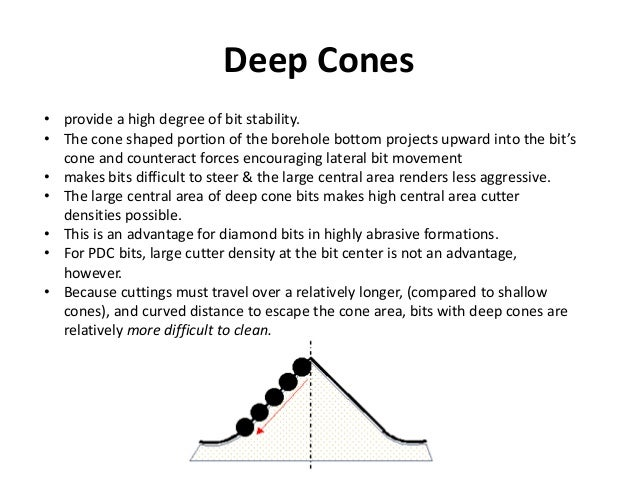 Deep Cones • provide a high degree of bit stability. • The cone shaped portion of the borehole bottom projects upward into...