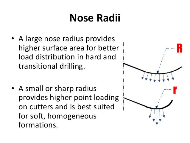 Nose Radii • A large nose radius provides higher surface area for better load distribution in hard and transitional drilli...