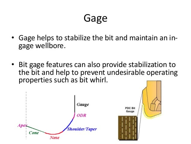 Gage • Gage helps to stabilize the bit and maintain an in- gage wellbore. • Bit gage features can also provide stabilizati...