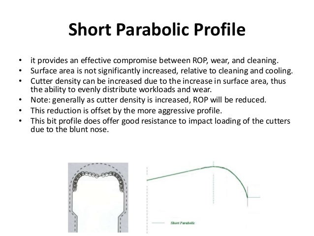 Short Parabolic Profile • it provides an effective compromise between ROP, wear, and cleaning. • Surface area is not signi...