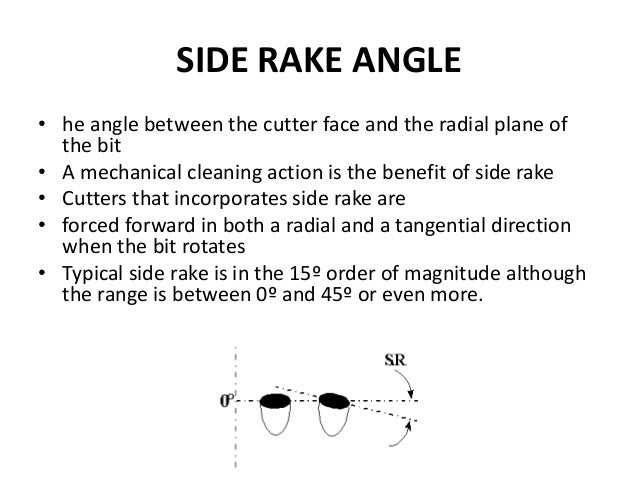 SIDE RAKE ANGLE • he angle between the cutter face and the radial plane of the bit • A mechanical cleaning action is the b...