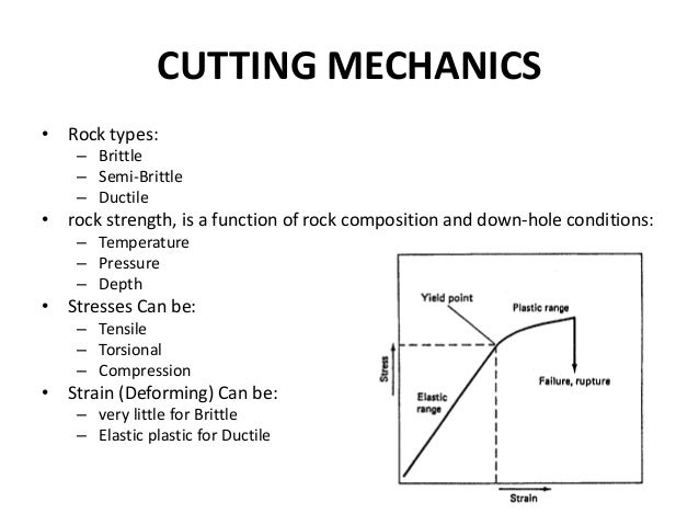 CUTTING MECHANICS • Rock types: – Brittle – Semi-Brittle – Ductile • rock strength, is a function of rock composition and ...