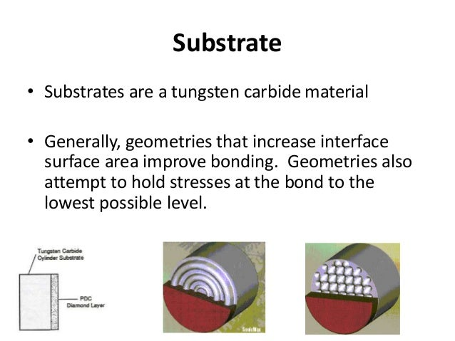 Substrate • Substrates are a tungsten carbide material • Generally, geometries that increase interface surface area improv...