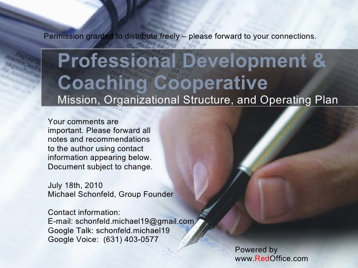 Professional Development & Coaching Cooperative Mission, Organizational Structure, and Operating Plan Powered by www. Red ...