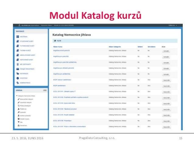 Modul Katalog kurzů 15PragoData Consulting, s.r.o.23. 5. 2016, EUNIS 2016