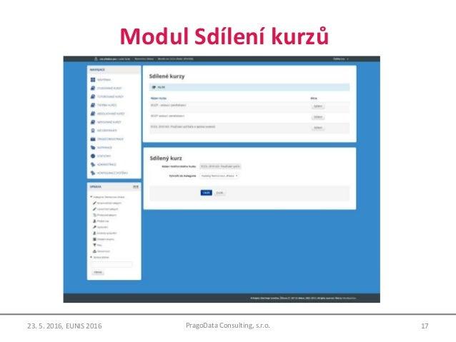 Modul Sdílení kurzů 17PragoData Consulting, s.r.o.23. 5. 2016, EUNIS 2016