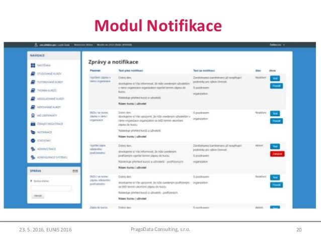 Modul Notifikace 20PragoData Consulting, s.r.o.23. 5. 2016, EUNIS 2016
