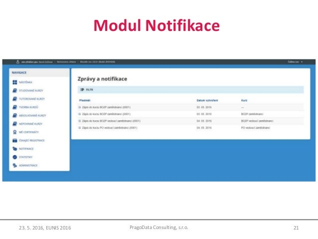 Modul Notifikace 21PragoData Consulting, s.r.o.23. 5. 2016, EUNIS 2016