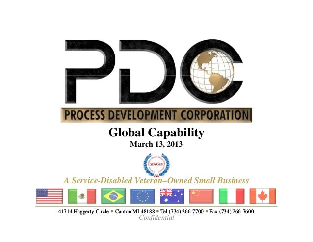 Global Capability                             March 13, 2013  A Service-Disabled Veteran–Owned Small Business41714 Haggert...