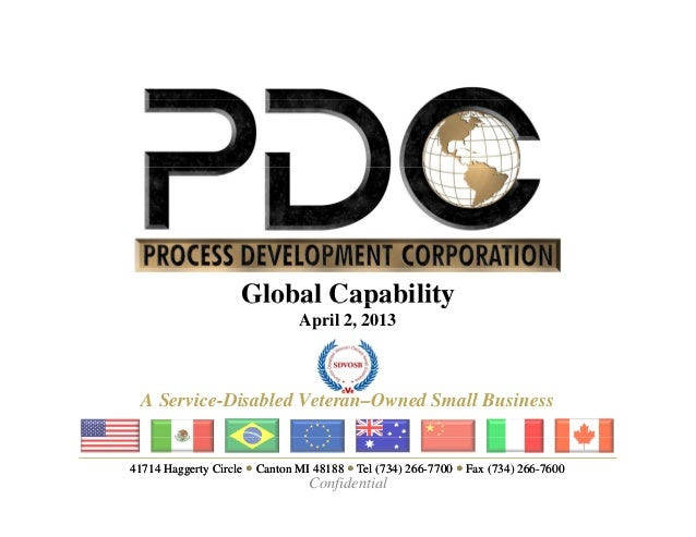 Global Capability                               April 2, 2013  A Service-Disabled Veteran–Owned Small Business41714 Hagger...