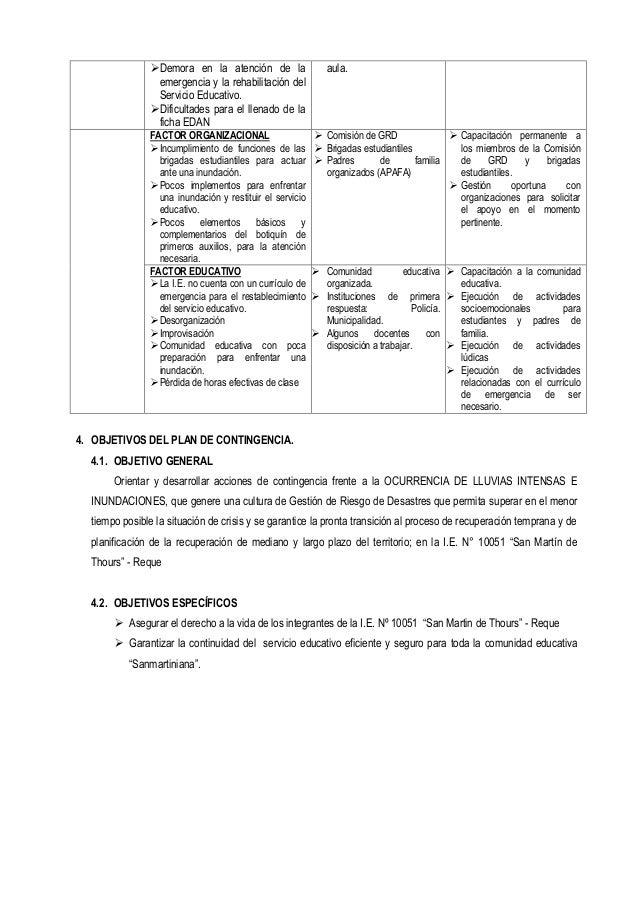 4. OBJETIVOS DEL PLAN DE CONTINGENCIA. 4.1. OBJETIVO GENERAL Orientar y desarrollar acciones de contingencia frente a la O...