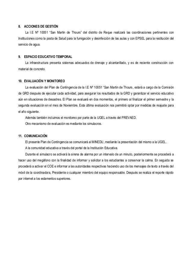 """8. ACCIONES DE GESTIÓN La I.E Nº 10051 """"San Martin de Thours"""" del distrito de Reque realizará las coordinaciones pertinent..."""