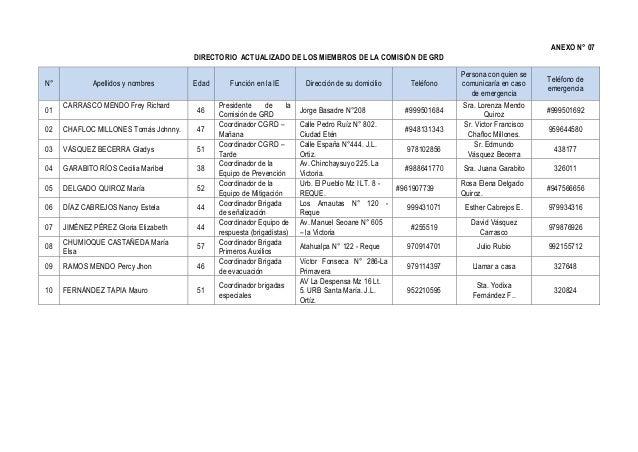 ANEXO N° 07 DIRECTORIO ACTUALIZADO DE LOS MIEMBROS DE LA COMISIÓN DE GRD N° Apellidos y nombres Edad Función en la IE Dire...