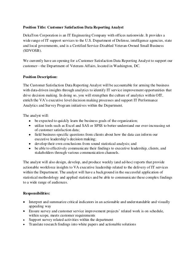 Job Description For A Data Analyst | Template