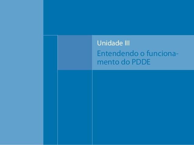 Unidade III  Entendendo o funcionamento do PDDE