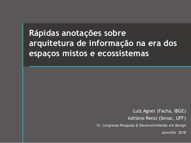 Rápidas anotações sobre arquitetura de informação na era dos espaços mistos e ecossistemas Luiz Agner (Facha, IBGE) Adrian...