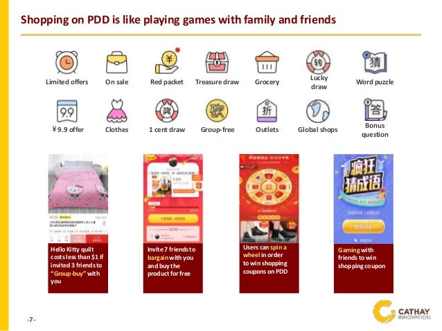 -7- Shopping on PDD is like playing games with family and friends Limited offers On sale Red packet Treasure draw Grocery ...