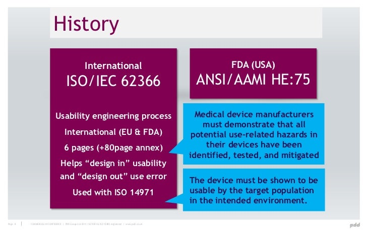 history international fda usa isoiec 62366 ansiaami he75 usability engineering process medical device manufacturers must demonstrate that all usability engineer