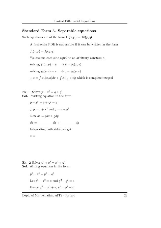 Partial Differential Equation - Notes