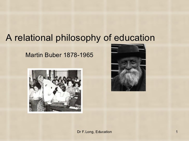 A relational philosophy of education    Martin Buber 1878-1965                    Dr F.Long, Education   1