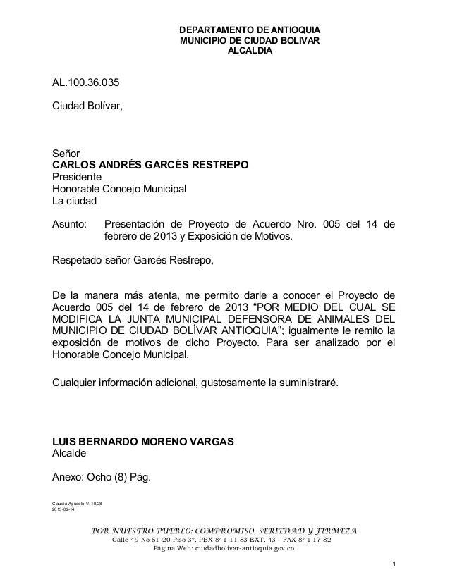 DEPARTAMENTO DE ANTIOQUIAMUNICIPIO DE CIUDAD BOLIVARALCALDIAAL.100.36.035Ciudad Bolívar,SeñorCARLOS ANDRÉS GARCÉS RESTREPO...