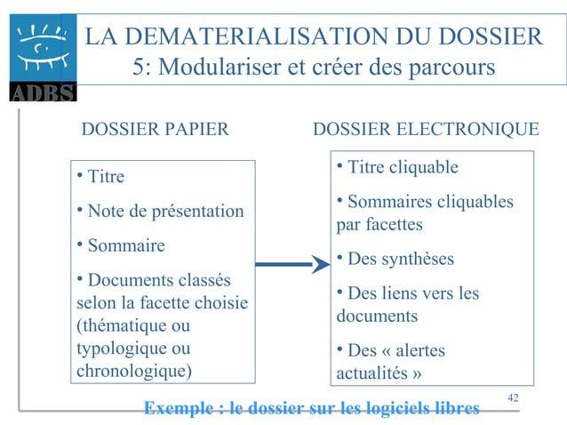 42 LA DEMATERIALISATION DU DOSSIER 5: Modulariser et créer des parcours DOSSIER PAPIER DOSSIER ELECTRONIQUE • Titre • Note...