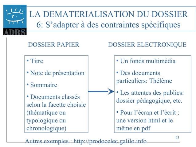 43 LA DEMATERIALISATION DU DOSSIER 6: S'adapter à des contraintes spécifiques DOSSIER PAPIER DOSSIER ELECTRONIQUE • Titre ...