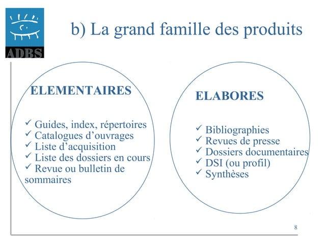 8 b) La grand famille des produits ELEMENTAIRES  Guides, index, répertoires  Catalogues d'ouvrages  Liste d'acquisition...