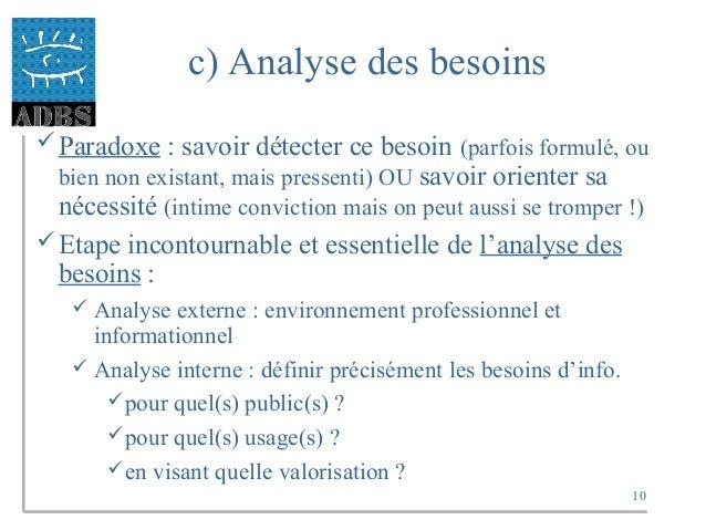 10 c) Analyse des besoins Paradoxe : savoir détecter ce besoin (parfois formulé, ou bien non existant, mais pressenti) OU...