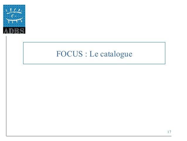 17 FOCUS : Le catalogue