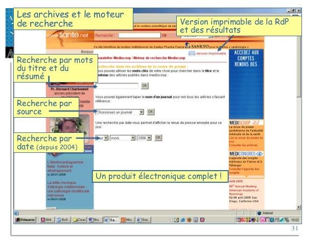 31 Les archives et le moteur de recherche Version imprimable de la RdP et des résultats Recherche par mots du titre et du ...