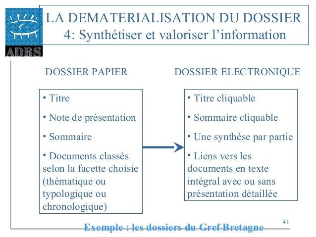 41 LA DEMATERIALISATION DU DOSSIER 4: Synthétiser et valoriser l'information DOSSIER PAPIER DOSSIER ELECTRONIQUE • Titre •...