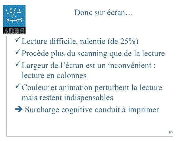 65 Donc sur écran… Lecture difficile, ralentie (de 25%) Procède plus du scanning que de la lecture Largeur de l'écran e...