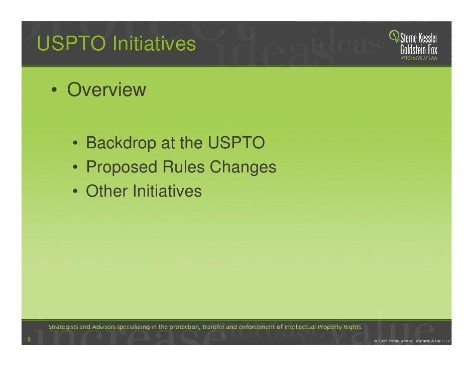 SKGF_Presentation_USPTO Patent Examination Reform and Proposed Rule Changes-2006 Slide 2