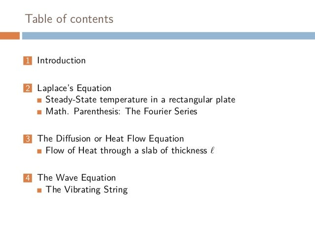 Partial Differential Equations, 3 simple examples