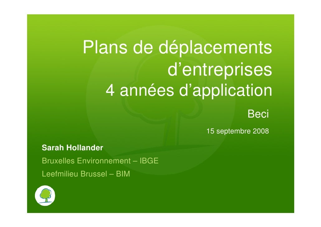 Plans de déplacements                     d'entreprises                   4 années d'application                          ...