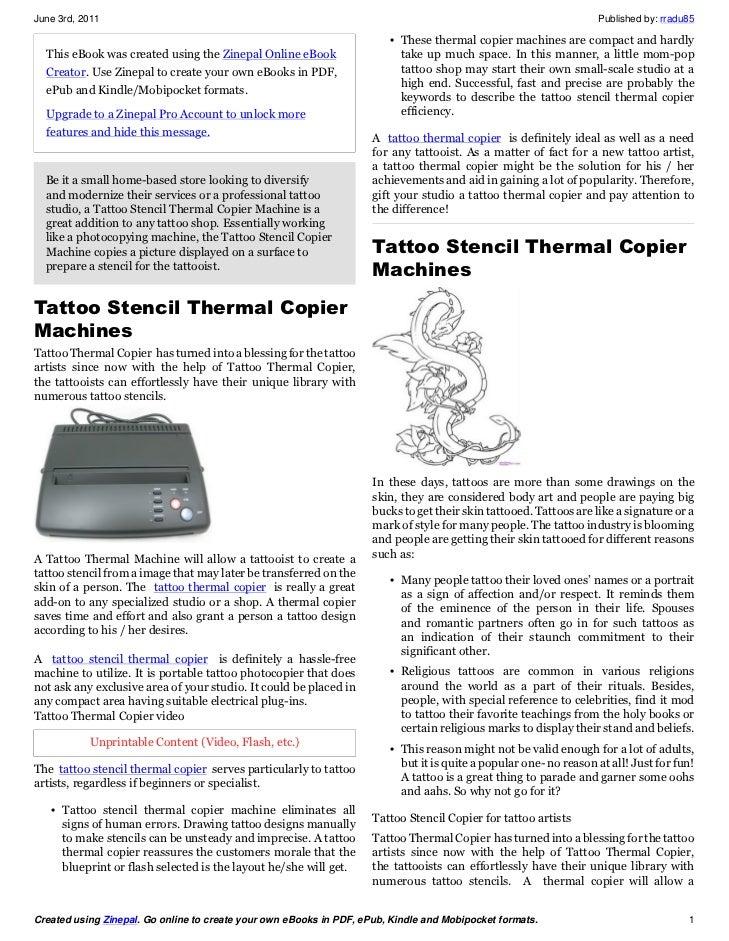 Tattoo Stencil Copier - Tattoo thermal Copier