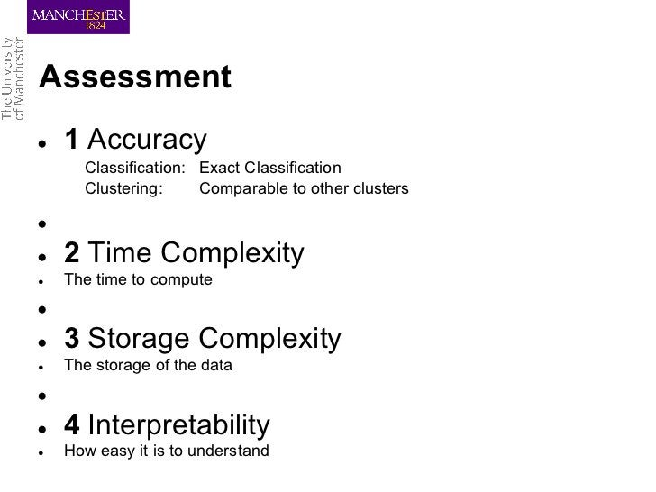 Assessment●   1 Accuracy      Classification: Exact Classification      Clustering:     Comparable to other clusters●●   2...