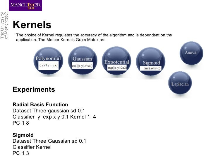 Kernels The choice of Kernel regulates the accuracy of the algorithm and is dependent on the application. The Mercer Kerne...